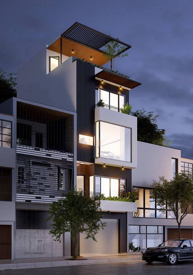 Nhà phố 4 tầng hiện đại sử dụng gam màu nâu chủ đạo mang cảm giác ấm áp