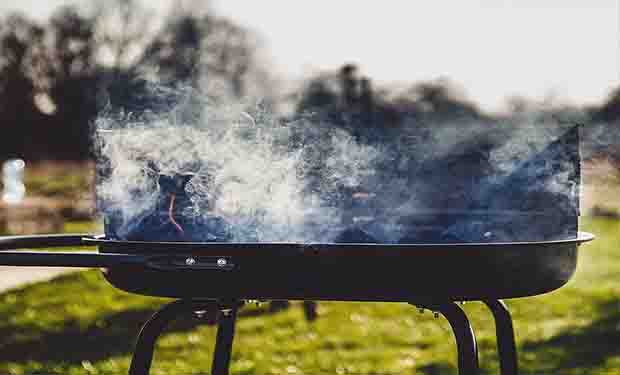 Smoke from charcoal grills