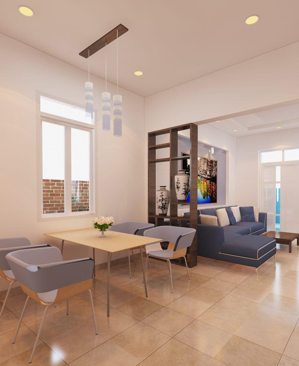Phòng khách của mẫu nhà 2 phòng ngủ 1 phòng khách mang nét đẹp nhẹ nhàng, ấm cúng, sang trọng