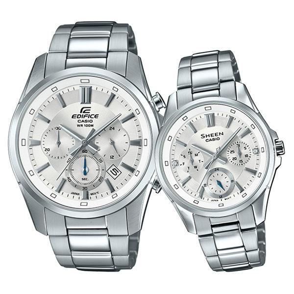 Đồng hồ Cặp đôi EFR-560D-7AV và SHE-3060D-7A với tone màu bạc sang trọng