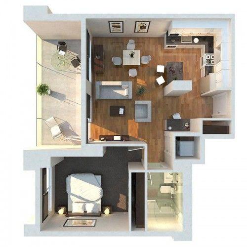 Thiết kế chung cư mini 1 phòng ngủ có ban công