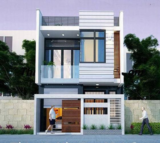 Mẫu nhà phố đẹp 2 tầng hình hộp độc đáo thu hút mọi ánh nhìn