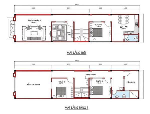 Bản vẽ chi tiết nhà phố 2 tầng 5 x 20