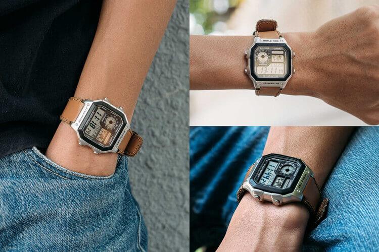 Đồng hồ điện tử Casio AE-1200 thích hợp cho người có size tay nhỏ.
