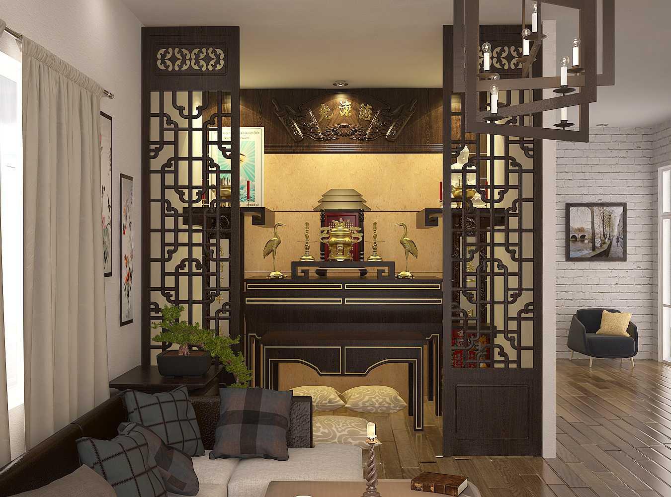 Thiết kế vách ngăn giữa phòng khách và gian thờ thể hiện sự tôn kính
