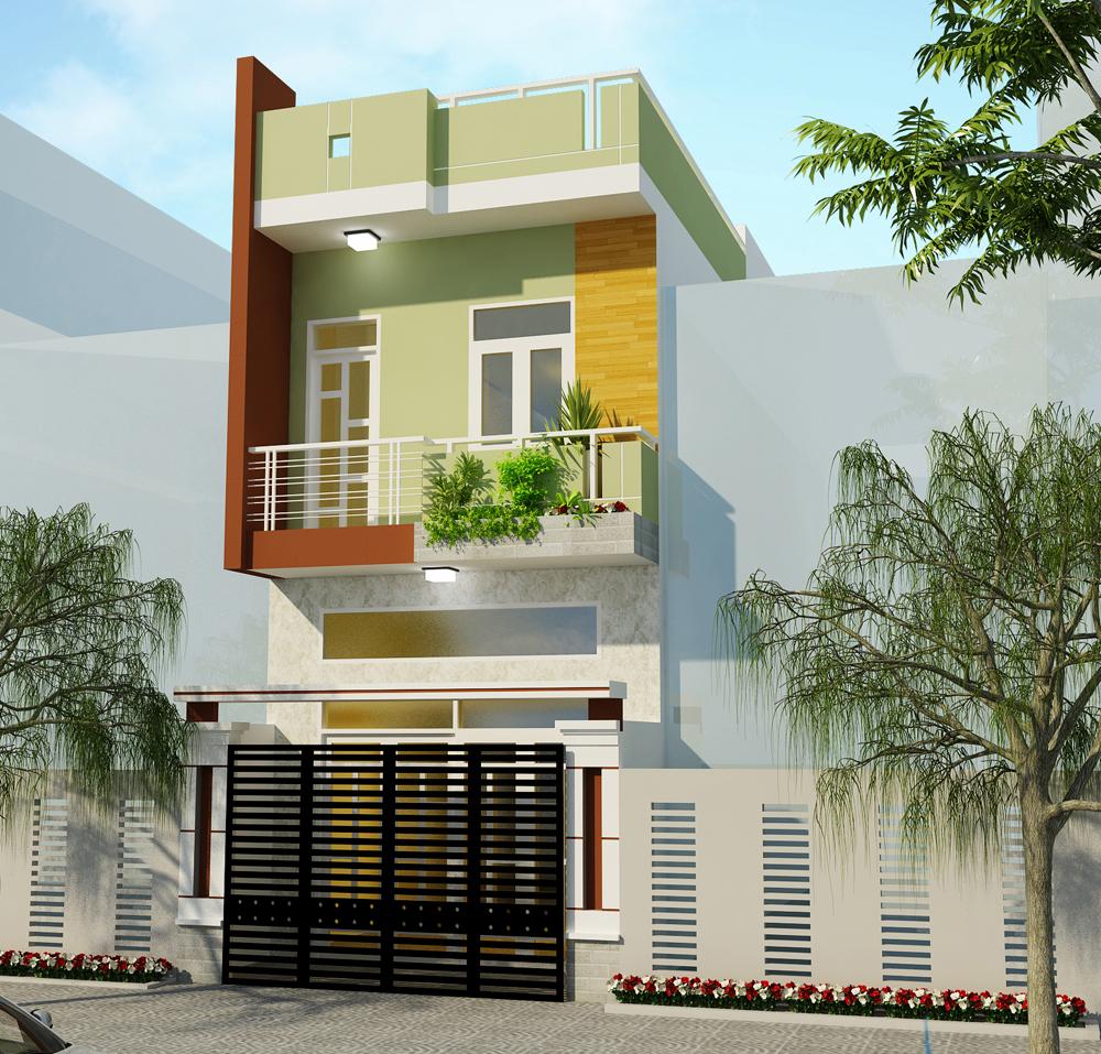 Mẫu mặt tiền nhà ống 2 tầng với thiết kế bắt mắt từ việc sử dụng màu xanh trầm kết hợp đá ốp lát tạo điểm nhấn cho toàn bộ ngôi nhà bạn.