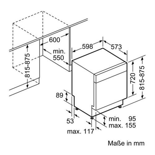 Kích thước lắp đặt máy rửa chén SMU68TS02E