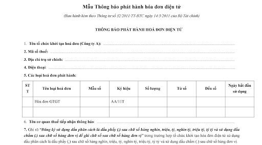 thông báo phát hành hóa đơn